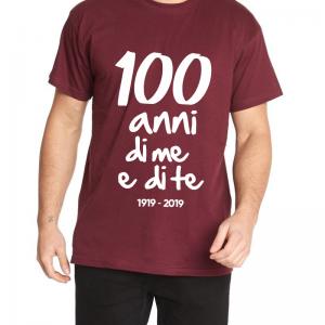 t-shirt centenario salernitana 100 anni di me e di te uomo granata